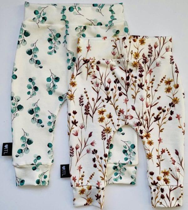TessLiva-handgemaakte-baby-kinderkleding-Set-combi-deal-broekjes-Dusty-flowers-groen-en-Dried-flowers-pink