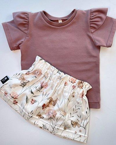 TessLiva-handgemaakte-baby-kinderkleding-Set-paperbag-skirt-flowers-and-butterfly-met-shirt-oud-mauve