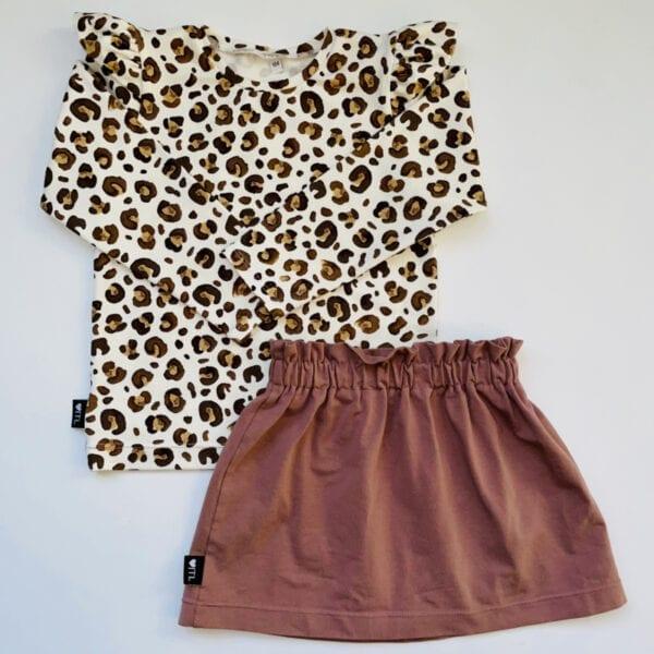 TessLiva-handgemaakte-baby-kinderkleding-Set-paperbag-skirt-oud-mauve-met-longsleeve-animal-camel-bruin