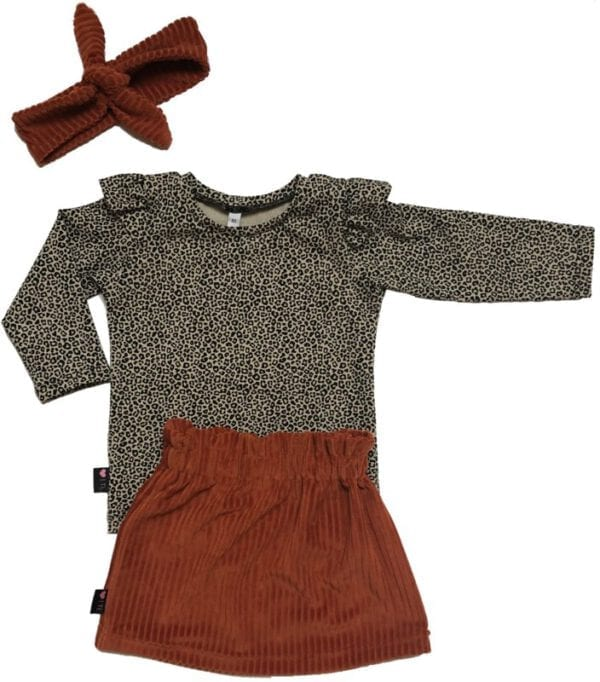 TessLiva-handgemaakte-baby-kinderkleding-set-paperbag-skirt-haarband-rib-brique-longsleeve-panterprint-mini-sand