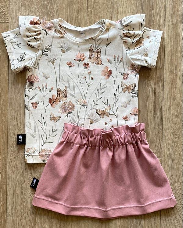 TessLiva-handgemaakte-baby-kinderkleding-Set-shirt-flowers-butterfly-paperbag-skirt-oud-roze